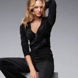 Victoria's Secret Black Velour Zip Up Hoodie XS